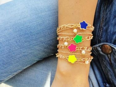 Neon flower bracelets