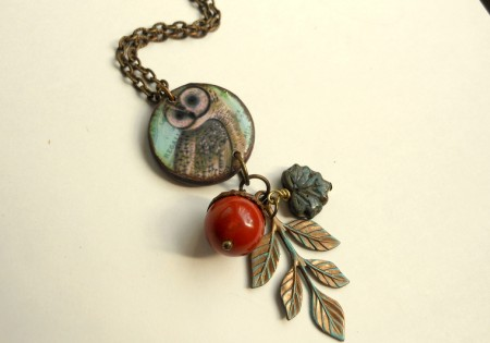Mixed Media Owl Necklace - Cheryl