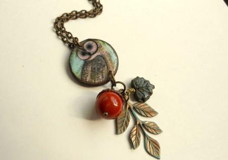Mixed Media Owl Necklace - Cheryl