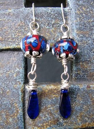 Czech Glass Paddle Bead Earrings