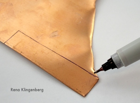 Marking copper sheet for Rugged & Rustic Adjustable Ring - tutorial by Rena Klingenberg