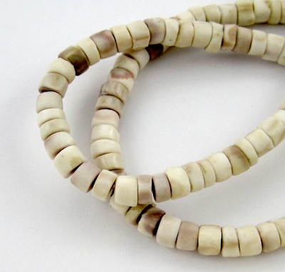 Shell beads for Thanksgiving jewelry craft - Rena Klingenberg