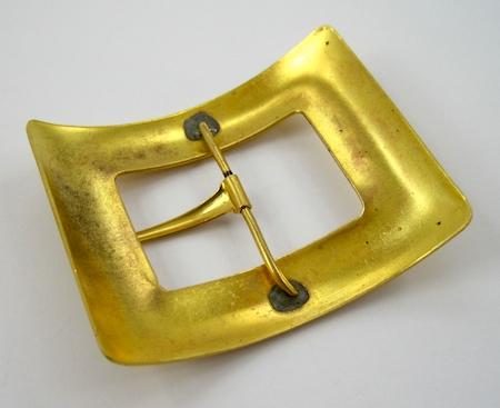 Vintage brass buckle for Belt Buckle Bracelet - tutorial by Rena Klingenberg