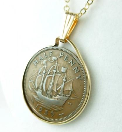 British Half Penny Coin Pendant