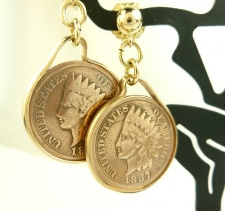 Indian Head Penny Coin Earrings