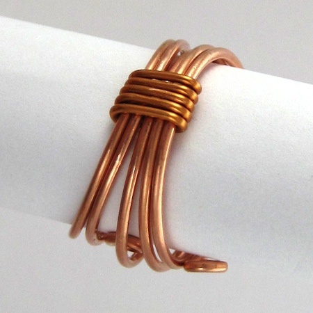 Underside of Wrapped Stacked Wire Ring - tutorial by Rena Klingenberg
