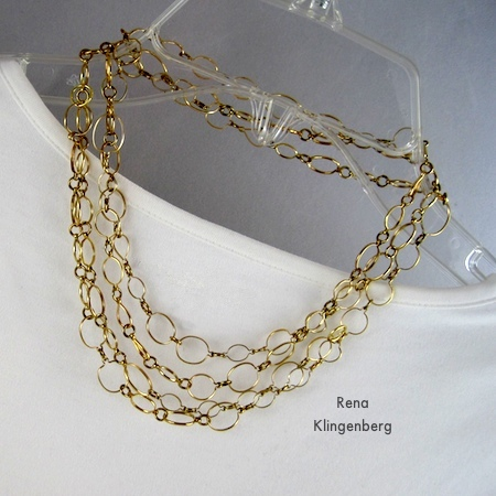 Four-Strand Choker - 6 Ways to Wear a 5-Foot Long Chain - by Rena Klingenberg