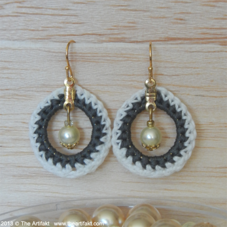 Crocheted Hoops and Pearls Earrings