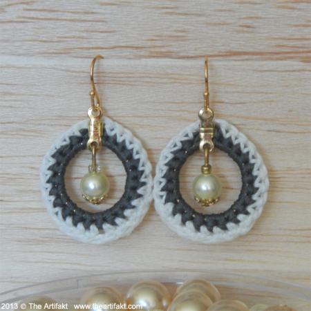 Crocheted Hoops and Pearls Earrings