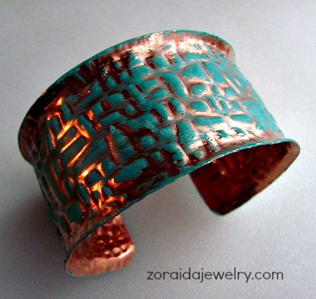Wide copper cuff with patina from patterned sheet