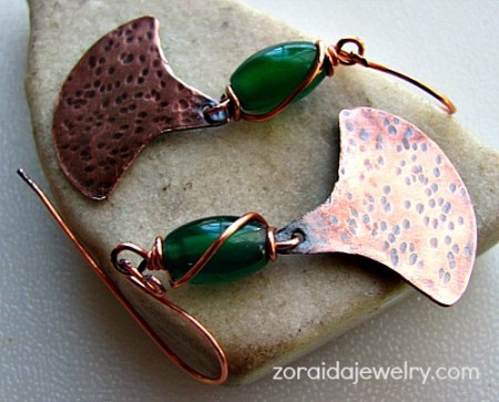Hammerd copper earrings with green agates