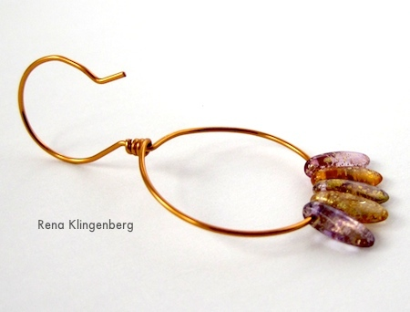 Finished Earring from Beaded Hoop Earwires - tutorial by Rena Klingenberg