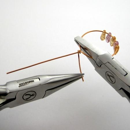 Making wire wraps for Beaded Hoop Earwires - tutorial by Rena Klingenberg