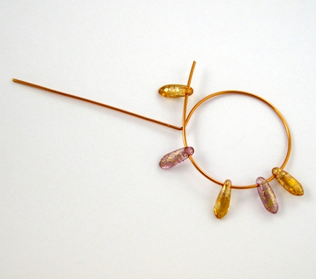 Stringing beads onto the hoop for Beaded Hoop Earwires - tutorial by Rena Klingenberg