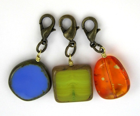 Finished bead charms for Changeable Charm Necklace - tutorial by Rena Klingenberg