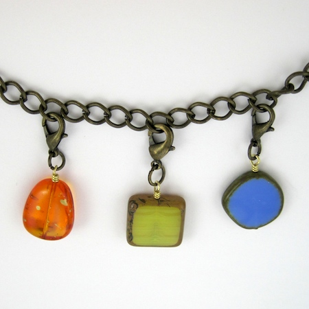 Hang bead charms on the chain (Changeable Charm Necklace - tutorial by Rena Klingenberg)