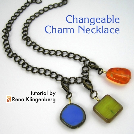 Changeable Charm Necklace - tutorial by Rena Klingenberg