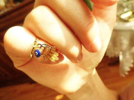 hamsa (hand of fatima) above the knuckle ring by Handemadeit