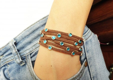 Brown leather wrap bracelet by Handemadeit