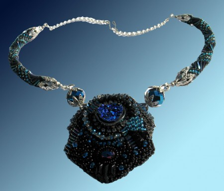 Bead Embroidery Necklace with Blue Druzy