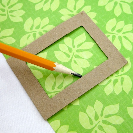 Using frame template on scrapbooking paper in Colorful Reversible Necklaces - tutorial by Rena Klingenberg