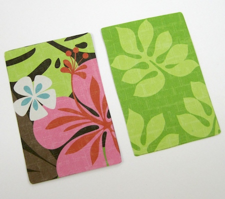Scrapbooking paper cut-outs for Colorful Reversible Necklaces - tutorial by Rena Klingenberg