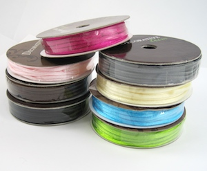 Colored satin cords for Colorful Reversible Necklaces - tutorial by Rena Klingenberg