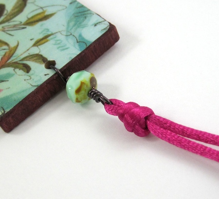 Knotted cord above pendant on Colorful Reversible Necklaces - tutorial by Rena Klingenberg