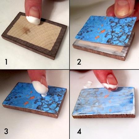Mod Podge on Colorful Reversible Necklaces - tutorial by Rena Klingenberg