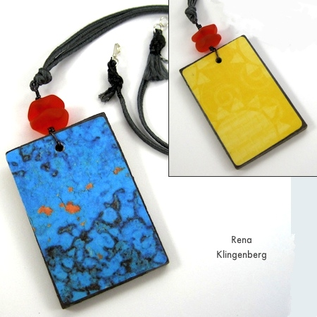 Blue and Yellow Colorful Reversible Necklaces - tutorial by Rena Klingenberg