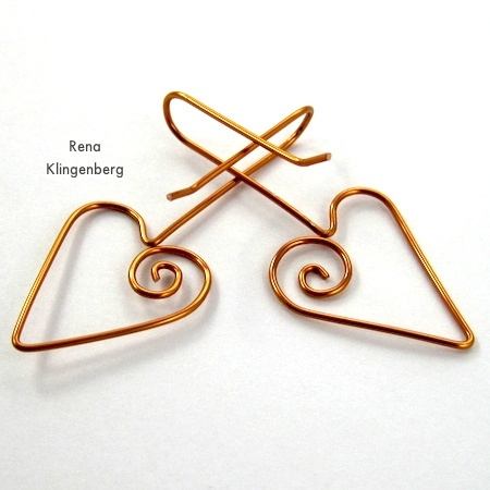 Heart Earwires - tutorial by Rena Klingenberg