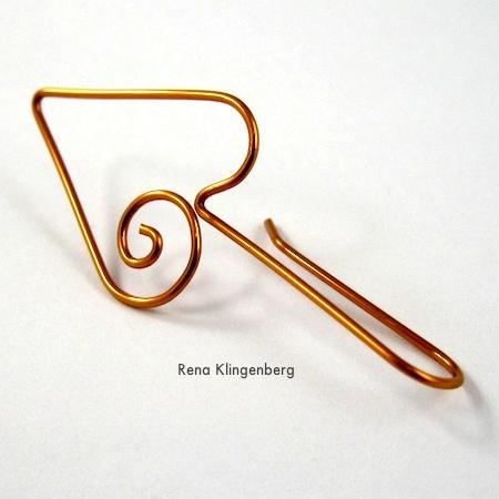 Finished Heart Earwire - tutorial by Rena Klingenberg