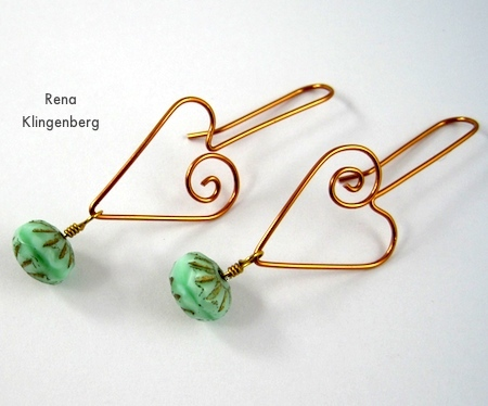 Beads added to Heart Earwires - tutorial by Rena Klingenberg