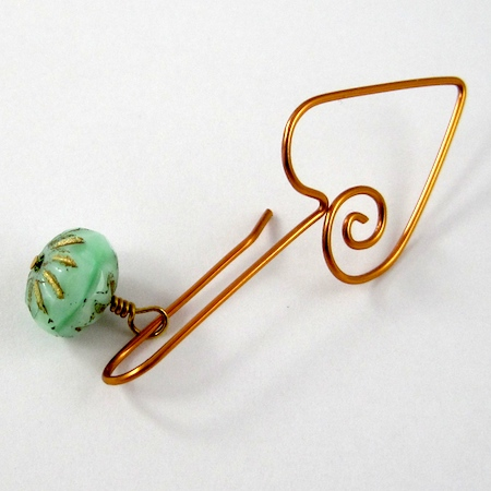 Adding a bead to Heart Earwires - tutorial by Rena Klingenberg