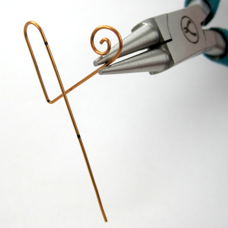 Making the spiral for Heart Earwires - tutorial by Rena Klingenberg