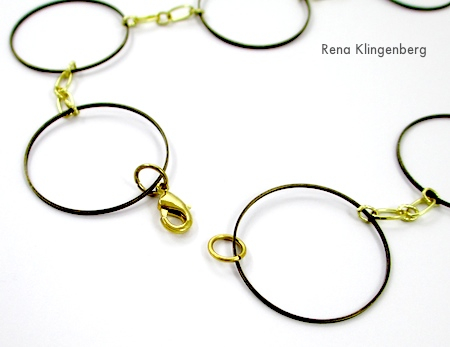 Attaching clasp to Dramatic Necklace from Jewelry Links and Chain Scraps - tutorial by Rena Klingenberg