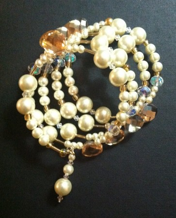 Cream colored pearls and soft gold beads