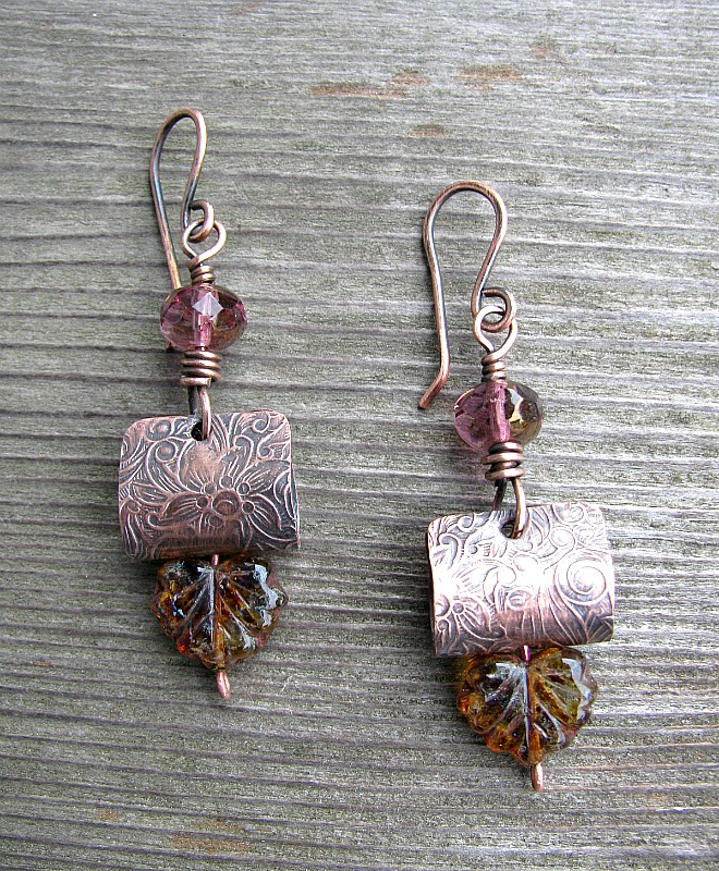 Embossed Copper Earrings