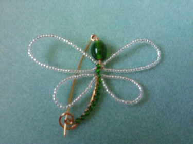 Silver plated wire and bead Dragonfly Brooch