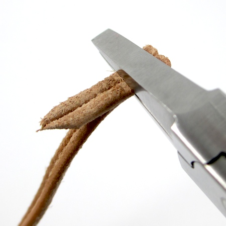 Making loop in cord ends for Safari Leather Bracelet for Guys and Gals - tutorial by Rena Klingenberg