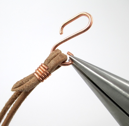 Attaching clasp to Safari Leather Bracelet for Guys and Gals - tutorial by Rena Klingenberg