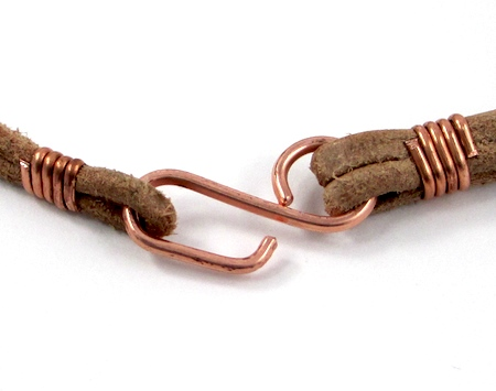 Finished Easy Wire Hook Clasp on Safari Leather Bracelet for Guys and Gals - tutorials by Rena Klingenberg