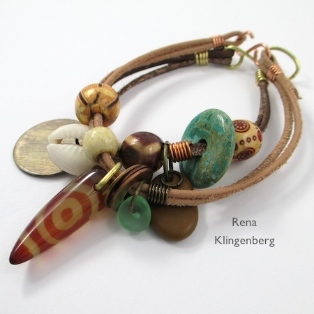 Safari Leather Bracelet for Guys and Gals - tutorial by Rena Klingenberg
