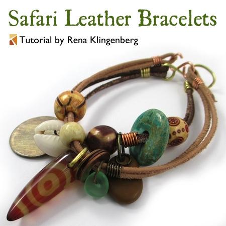 Safari Leather Bracelet for Guys and Gals - tutorial by Rena Klingenberg