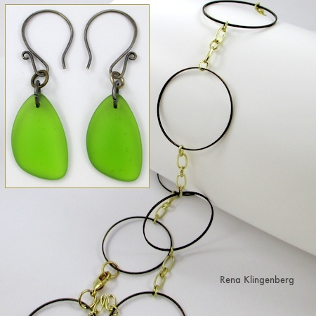 Faux seaglass earrings and Circles necklace by Rena Klingenberg