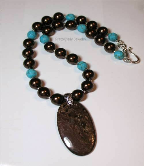 Bronzite and Turquoise Howlite Necklace