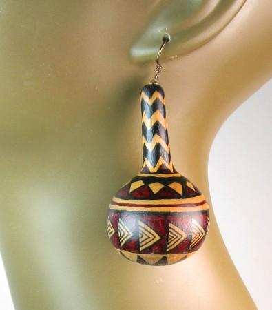 Home-grown, hand-painted African design earrings - Virginia Vivier