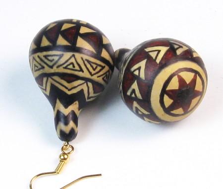 Home grown, hand-painted baby gourd earrings - Virginia Vivier