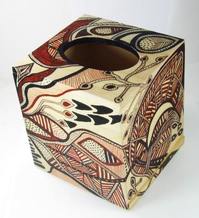 Hand-painted wood tissue box - Virginia Vivier