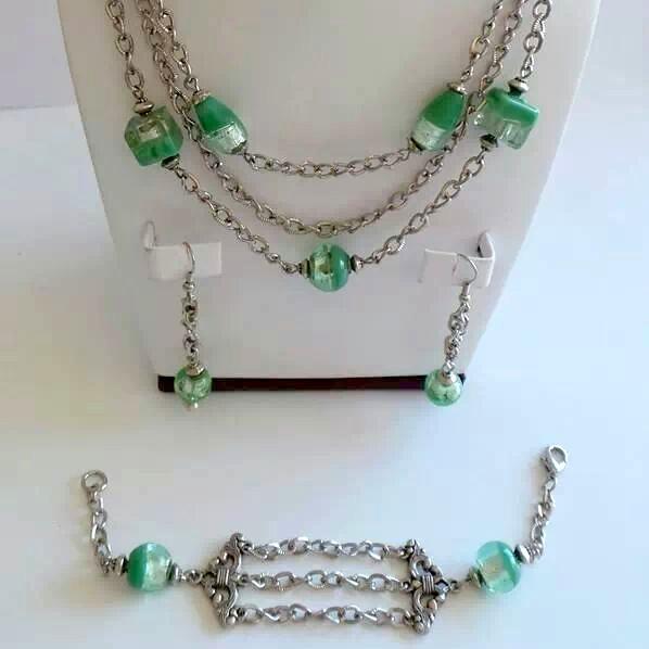 Green Glass Foil Trio